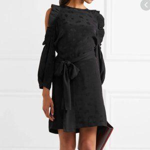 Black long sleeve cold shoulder mini dress maje